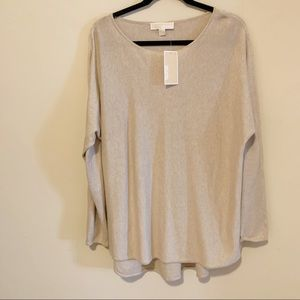 NWT Micheal Kors Light Tan Long Sleeve Sweater XL